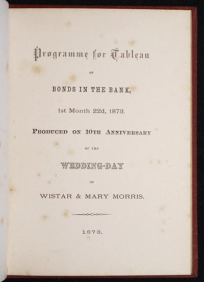 programme for tableau of bonds in the bank 1st month 22nd 1873