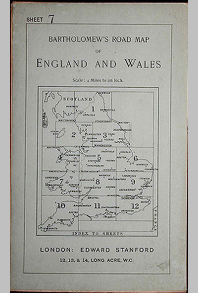 Bartholomew's Four Miles To the Inch Road Map of England and Wales: New Series Sheet 7: Southern Wales