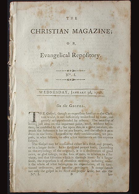 The Christian Magazine; or, Evangelical Repository, No. 1. Wednesday, January 3d, 1798