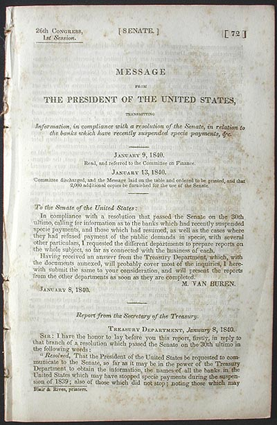 Message from the President of the United States, Transmitting Information, in Compliance with a Resolution of the Senate, in Relation to the Banks which have recently suspended Specie Payments, &c. [Panic of 1837]