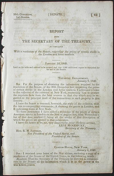 Report From the Secretary of the Treasury, in Compliance With a Resolution of the Senate, respecting the Prices of Certain Stocks in the London and Home Markets