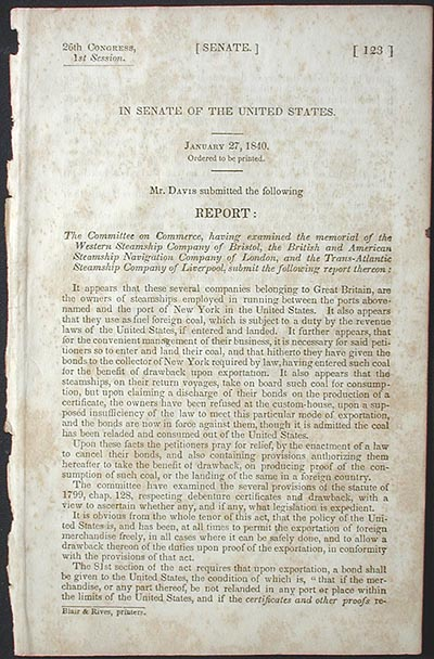 Report: the Committee on Commerce, having examined the memorial of the Western Steamship Company of Bristol, the British and American Steamship Navigation Company of London, and the Trans-Atlantic Steamship Company of Liverpool, submit the following Report