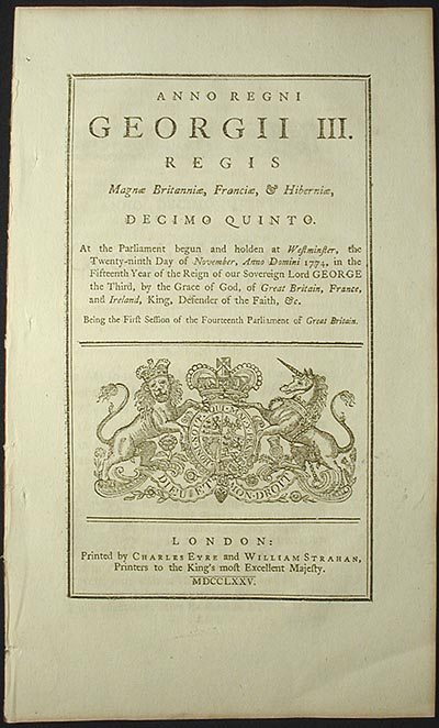 An Act to Restrain the Trade and Commerce of the Colonies of New Jersey, Pensylvania, Maryland, Virginia, and South Carolina, to Great Britain, Ireland, and the British Islands in the West Indies [2nd Restraining Act]