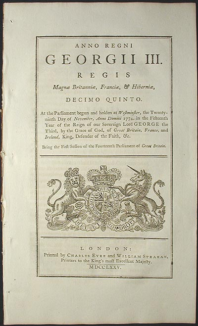 An Act to Restrain the Trade and Commerce of the Provinces of Massachuset's Bay and New Hampshire, and Colonies of Connecticut, and Rhode Island, and Providence Plantation, in North America, to Great Britain, Ireland, and the British Islands [1st Restraining Act]