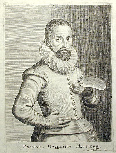 Engraved Portrait of Flemish artist Paul Brill (1554-1626) by Esme de Boulonois. Isaac Bullart.