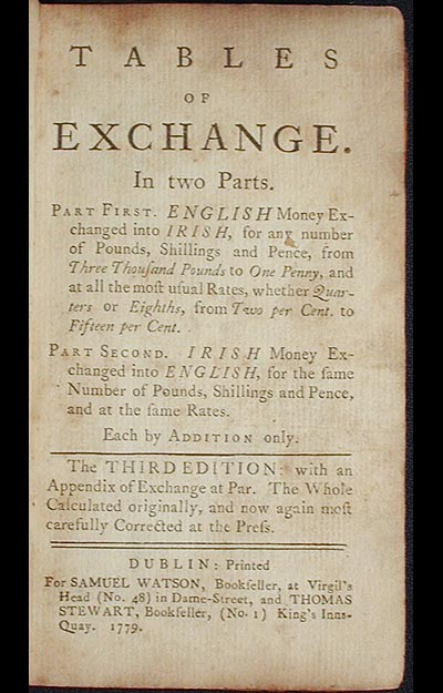 Tables of Exchange: In Two Parts. Part First. English Money Exchanged into Irish . . . Part Second. Irish Money Exchanged into English, . . . Each by Addition Only. John Watson.