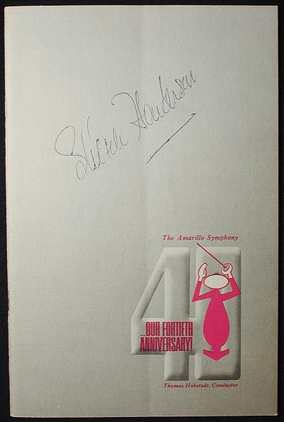 Skitch Henderson Autograph [program from 1964 concert with the Amarillo Symphony Orchestra]
