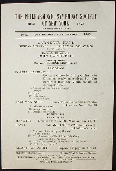 The Philharmonic-Symphony Society of New York [program with John Barbirolli and Eugene List] 1943