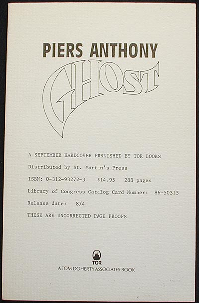 Ghost [Uncorrected Page Proofs]. Piers Anthony.