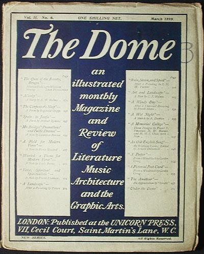 The Dome: An Illustrated Monthly Magazine and Review of Literature, Music, Architecture, and the Graphic Arts; Vol. II no. 6 March 1899 [New Series]. Gertrude Reese Hudson, Reginald Cripps.