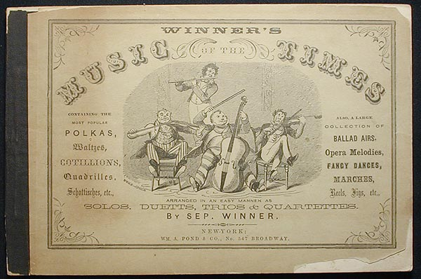 Winner's Music of the Times: Containing the Most Popular Polkas, Waltzes, Cottillions, Quadrilles, Schottisches, etc.; Also, a Large Collection of Ballad Airs, Opera Melodies, Fancy Dances, Marches, Reels, Jigs, etc. arranged in an easy manner as solos, duetts, trios & quartettes by Sep. Winner. Septimus Winner.