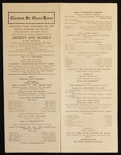 Artists and Models: Paris Edition [Chestnut St. Opera House playbill 1926 -- Sid Silvers' Broadway debut]