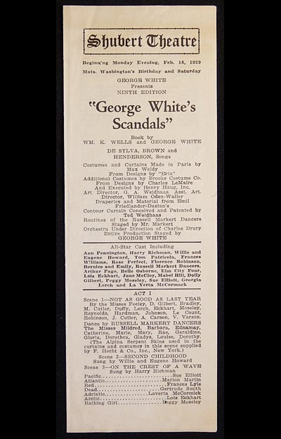 George White's Scandals: Ninth Edition (1928 show) [Shubert Theatre playbill 1929]
