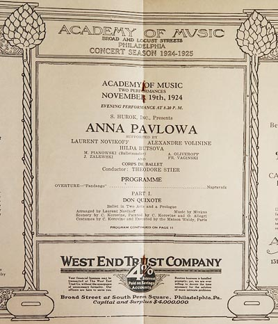 Anna Pavlova [Academy of Music program 1924]
