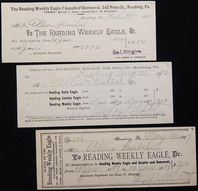Receipts for Subscription to the Reading Weekly Eagle for Allen Kreibel, 1889, 1892, 1897. George L. Kleinginna, D. M. Blatt.