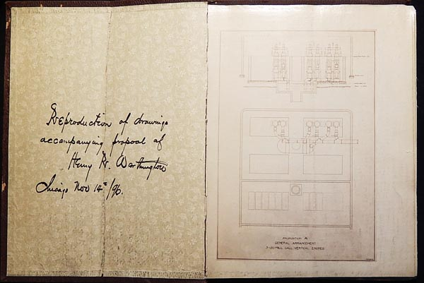 Reproduction of Drawings Accompanying Proposal of Henry R. Worthington [drawings of his vertical triple expansion high duty pumping engine]. Henry Rossiter Worthington.