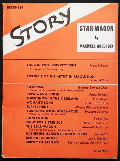 Story: The Magazine of the Short Story -- Dec. 1937 -- vol. 11 no. 65. Maxwell Anderson, George Bernard Shaw, William Saroyan.