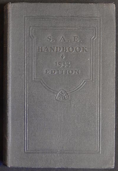 S.A.E. Handbook 1933 Edition [Society of Automotive Engineers]