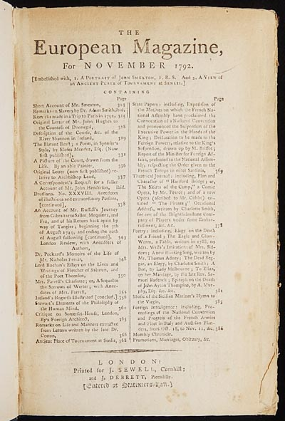 The European Magazine, and London Review, for November 1792 [Mutiny on the Bounty; Charlotte Turner Smith; Moses Mendes]