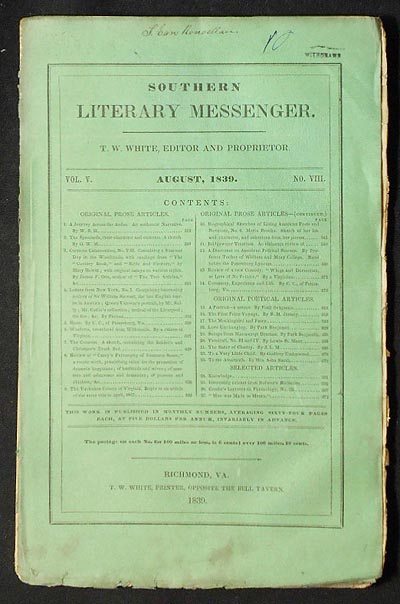 Southern Literary Messenger Aug. 1839 vol. 5, no. 8 [Maria Gowen Brooks]. George Combe.
