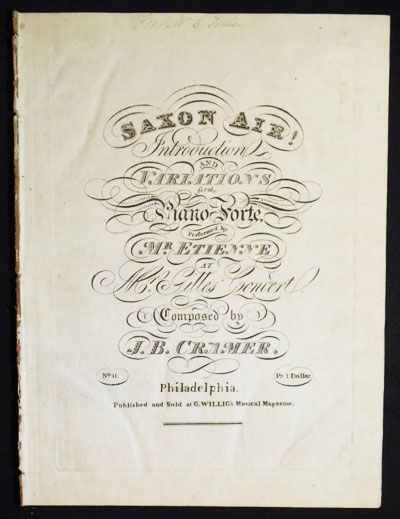 Saxon Air!: Introduction and Variations for the Piano-Forte; performed by Mr. Etienne at Mr. Gilles' Concert; composed by J.B. Cramer. J. B. Cramer, Johann Baptist.