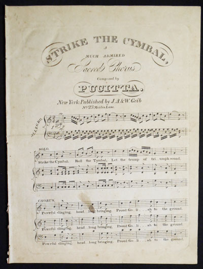 Strike the Cymbal, a Much Admired Sacred Chorus composed by Pucitta. Vencenzo Pucitta.