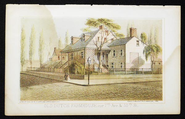 Old Dutch Farmhouse, cor. 7th Ave. & 50th St. [chromolithograph from Valentine's Manual of the Corporation of the City of New York]
