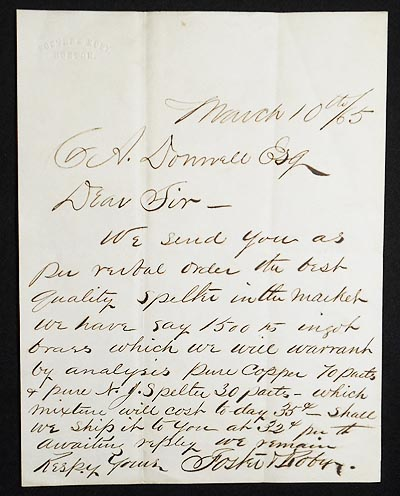 1865 Business Letter from Foster & Roby, Brass Founders, Boston. Foster, Roby.