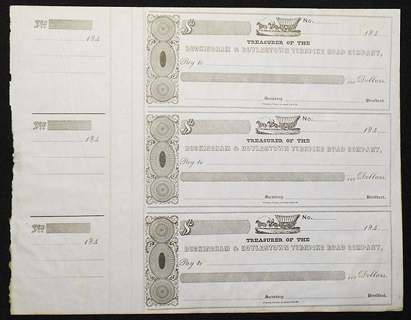 Buckingham and Doylestown Turnpike Road Company subscription certificates 1843