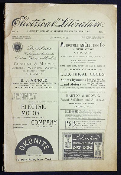 Electrical Literature: A Monthly Summary of Current Engineering Literature -- Vol. 1 No. 1 -- Jan. 1894