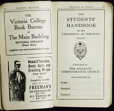 The Students' Handbook of the University of Toronto 1936-37