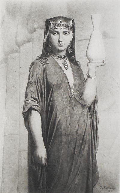 A Woman of Thebes by Charles Landelle [1 print from The Masterpieces of French Art]. Charles Landelle.