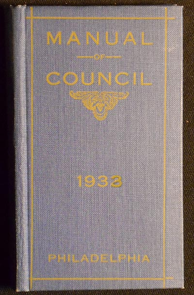Manual of the City Council of Philadelphia for 1933; compiled by David W. Harris, Clerk, City Council. David W. Harris.