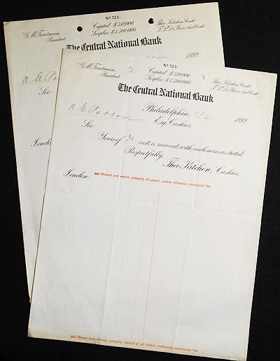 Letterhead from the Central National Bank of Philadelphia, 1892, addressed to Alexander Ennis Patton (1852-1904)