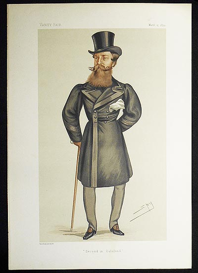 """Second in Zululand"": Major-General Henry Hope Crealock (Men of the Day no. 196) -- Vanity Fair, March 15, 1879. Leslie Ward."
