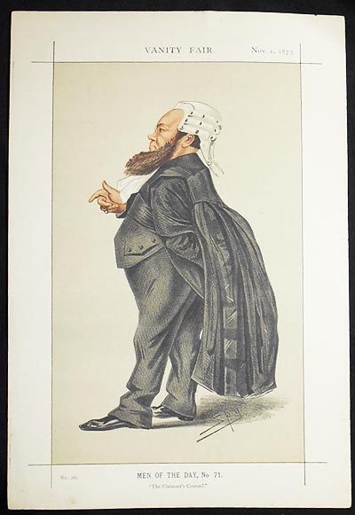 """""""The Claimant's Counsel"""": Dr. Edward Vaughan Kenealy (Men of the Day, no. 71) -- Vanity Fair, Nov. 1, 1873. Leslie Ward."""