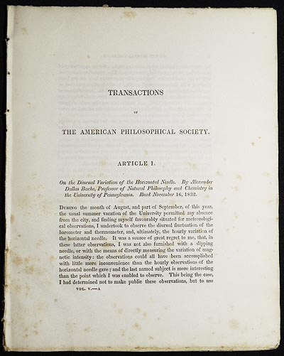 On the Diurnal Variation of the Horizontal Needle [Transactions of the American Philosophical Society, vol. 5 New Series, Article I]. Alexander Dallas Bache.