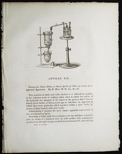Process for Nitric Ether, or Sweet Spirits of Nitre, by means of an approved Apparatus by R. Hare [Transactions of the American Philosophical Society, vol. 5 New Series, Article XIX]. Robert Hare.