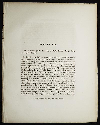 On the Causes of the Tornado, or Water Spout by R. Hare [Transactions of the American Philosophical Society, vol. 5 New Series, Article XXI]. Robert Hare.