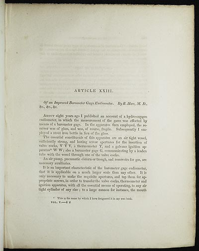 Of an Improved Barometer Gage Eudiometer by R. Hare [Transactions of the American Philosophical Society, vol. 5 New Series, Article XXIII]. Robert Hare.