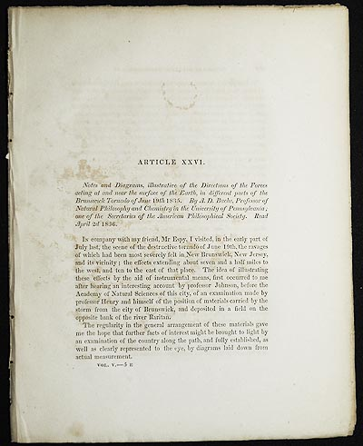 Notes and Diagrams, illustrative of the Directions of the Forces acting at and near the surface of the Earth, in different parts of the Brunswick Tornado of June 19th 1835 by A.D. Bache [Transactions of the American Philosophical Society, vol. 5 New Series, Article XXVI]. Alexander Dallas Bache.