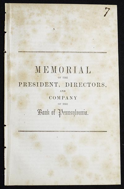 Memorial of the President, Directors, and Company of the Bank of Pennsylvania