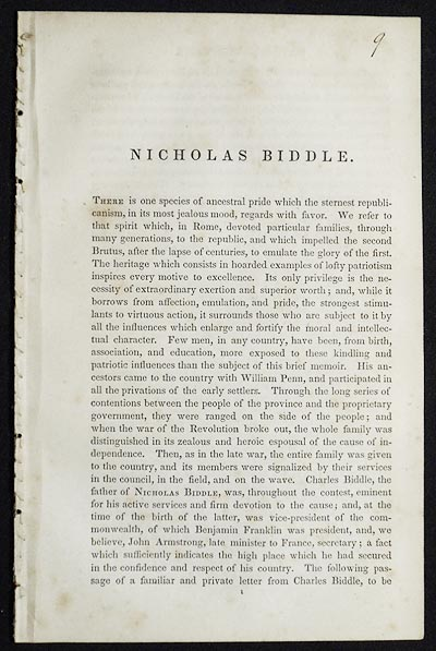 Nicholas Biddle [from The National Portrait Gallery of Distinguished Americans]. R. T. C.