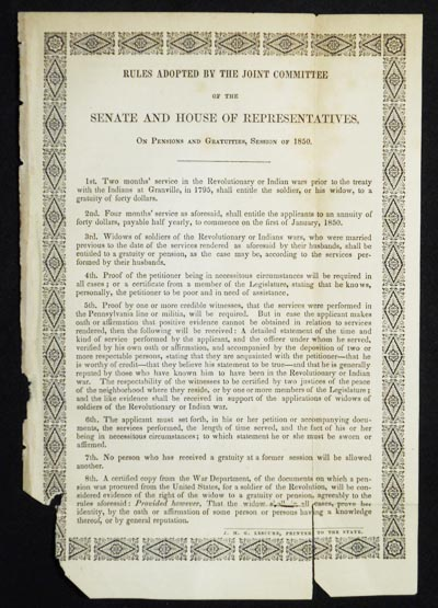 Rules Adopted by the Joint Committee of the Senate and House of Representatives, On Pensions and Gratuities, Session of 1850. Pennsylvania. General Assembly.