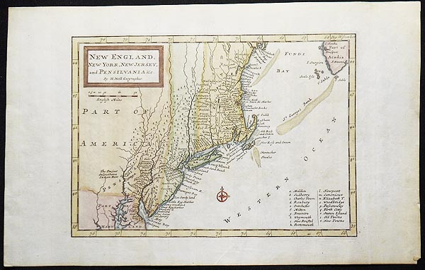 New England, New York, New Jersey, and Pensilvania &c. by H. Moll Geographer. Herman Moll.