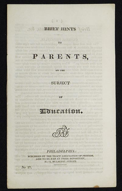 Brief Hints to Parents, on the Subject of Education. James Mott, attributed.