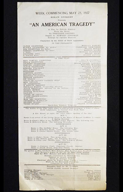 Horace Liveright presents An American Tragedy [playbill]