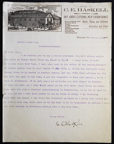Typed letter to Melvin Morse of Hardwick, Vt., signed by C.E. Haskell on his business letterhead. C. E. Haskell.