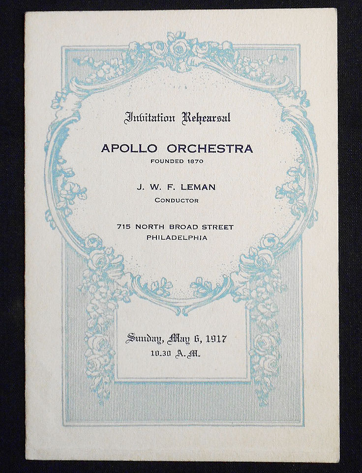 Apollo Orchestra program -- Conductor J. W. F. Leman