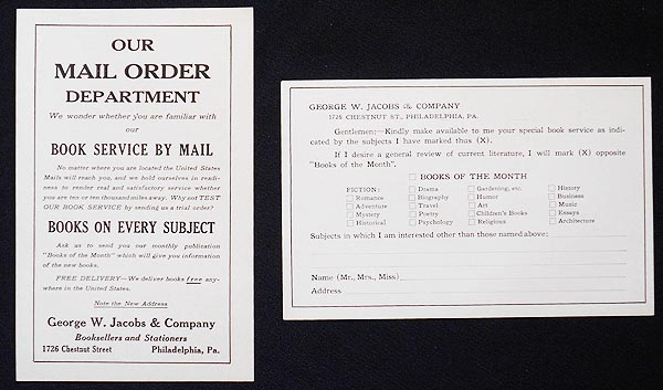Advertising Inserts for George W. Jacobs & Co., Booksellers and Stationers